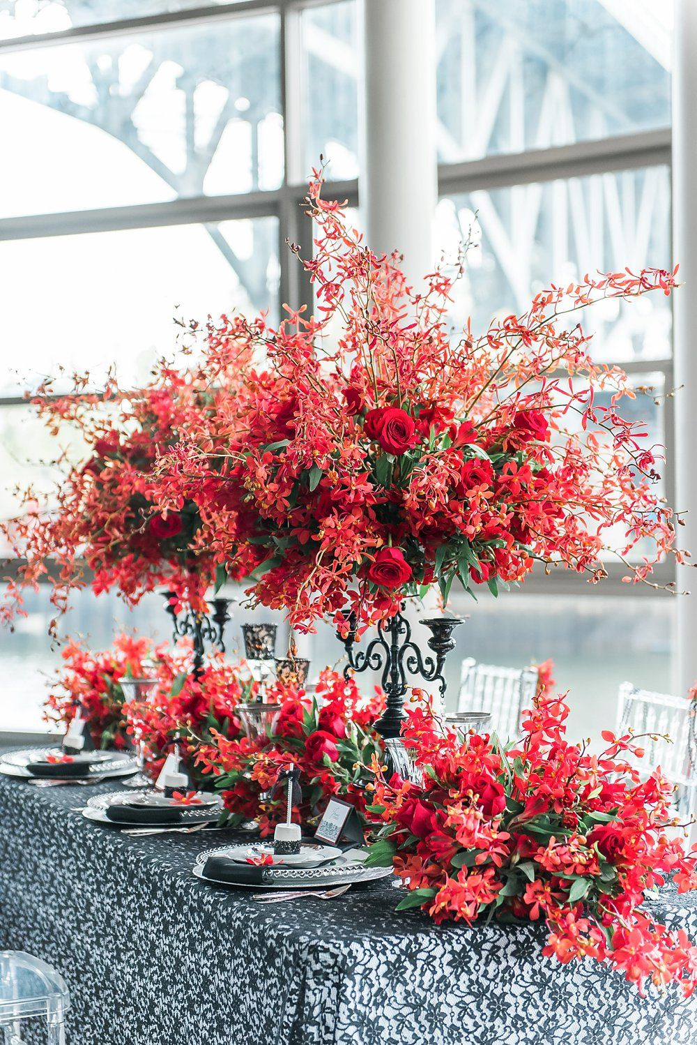 Wedding decoration ideas red and white  Tall Red and Coral Floral Arrangements Elegant Styled Wedding