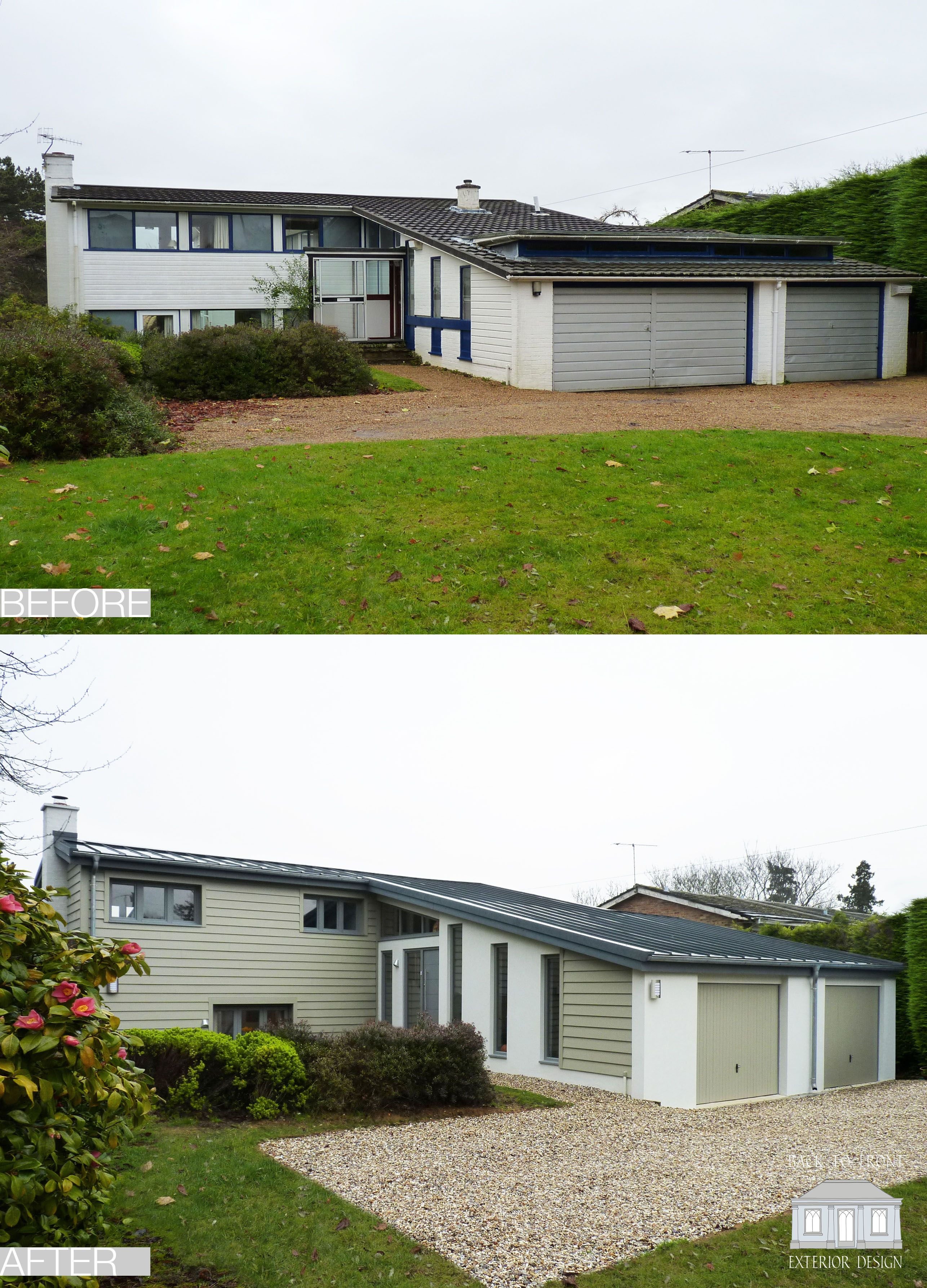 1960 S Before And After Remodelling Project In Guildford Surrey By Back To Front Exterior: Back To Front Exterior Design 1960's Before And After Modern Remodel