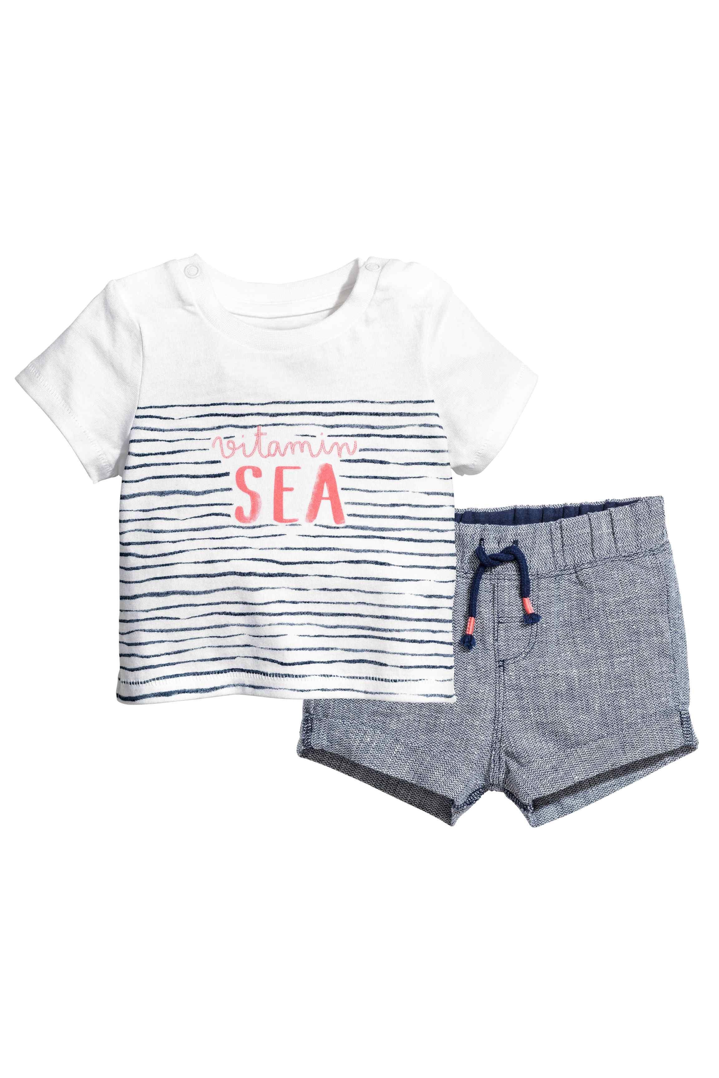 Tshirt et short Short blanc, Vetement enfant et