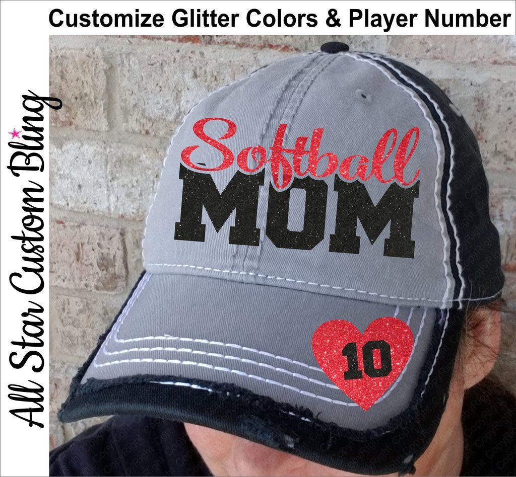 d79e705fe Softball Mom Hat Player Number on Bill Grey Black Hat | Hats We Love ...