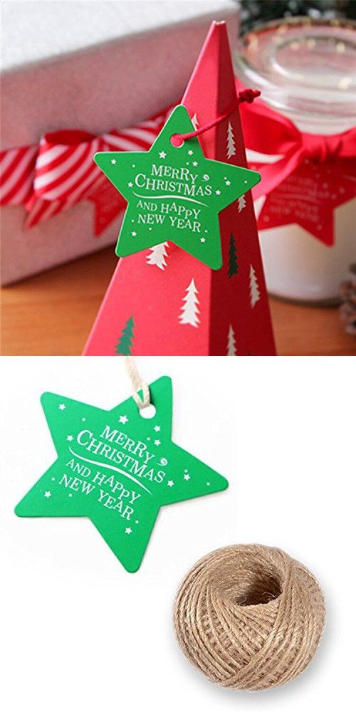 G2PLUS 100 PCS Star Shaped Christmas Gift Tags with String u0027Merry Christmas And Happy New Yearu0027 Printed Paper Hang Tags with 100 Feet Natural Jute Twine ...  sc 1 st  Pinterest & G2PLUS 100 PCS Star Shaped Christmas Gift Tags with String u0027Merry ...