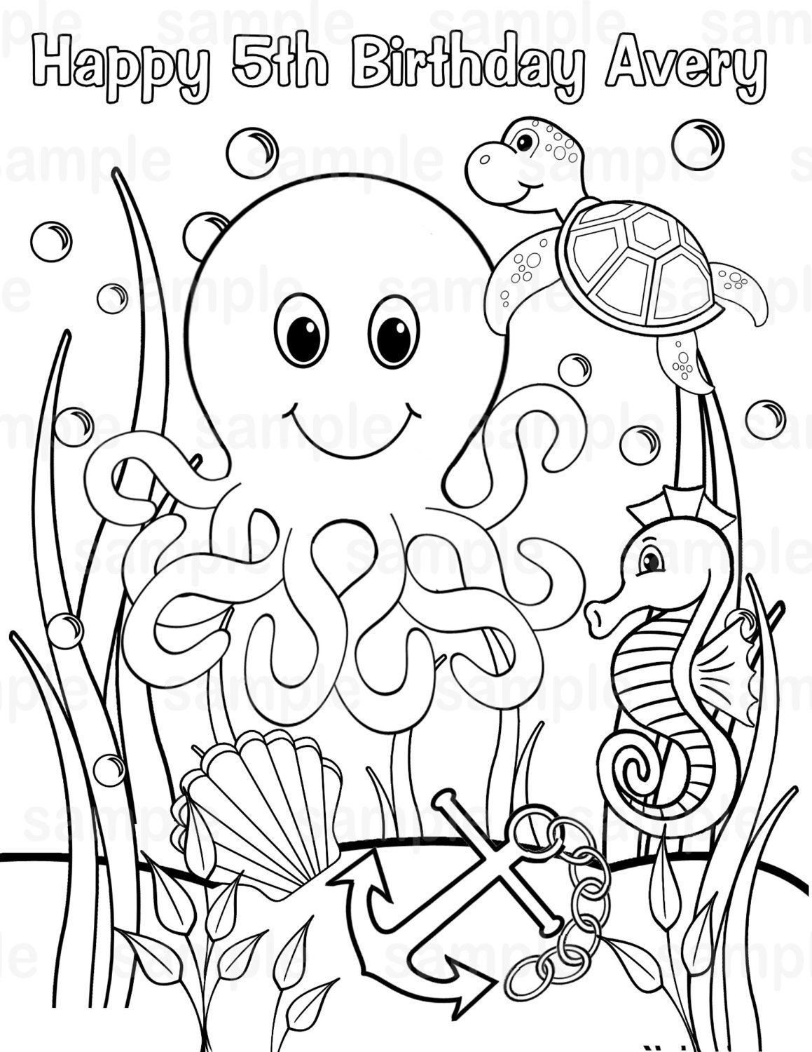 Personalized Printable Under The Sea Birthday By Sugarpiestudio Animal Coloring Pages Ocean Coloring Pages Coloring Pictures Of Animals