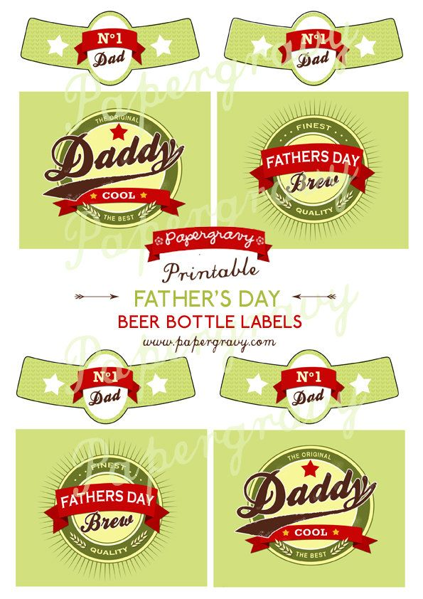 photograph about Printable Beer Labels called PRINTABLE Retro Fathers Working day Beer Bottle labels Electronic