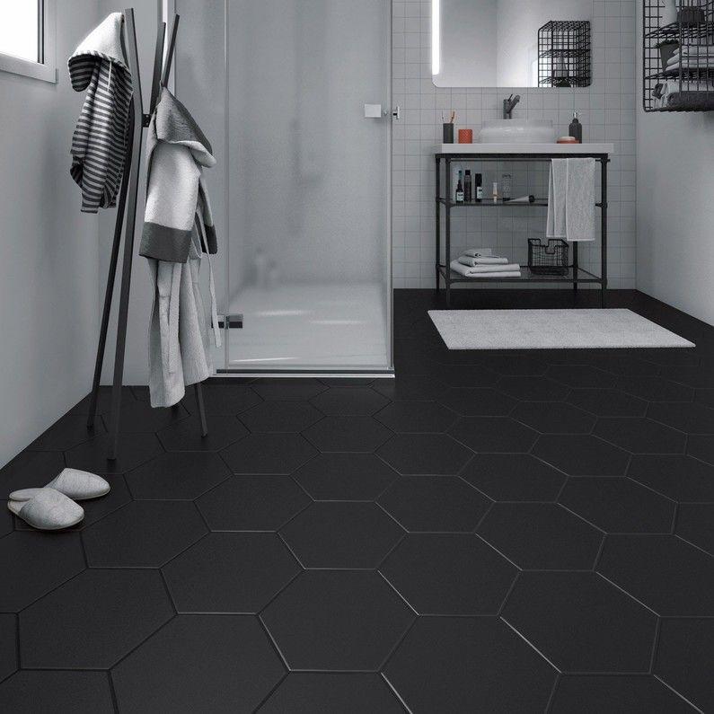 Carrelage Sol Et Mur Forte Effet Beton Noir Hexo L 25 8 X L 29 Cm