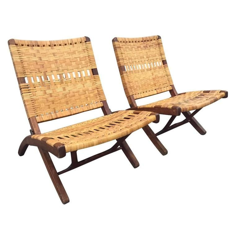 Pair of Danish Woven Caned Lounge Chairs Style of Hans Wegner | From a unique collection of antique and modern lounge chairs at https://www.1stdibs.com/furniture/seating/lounge-chairs/