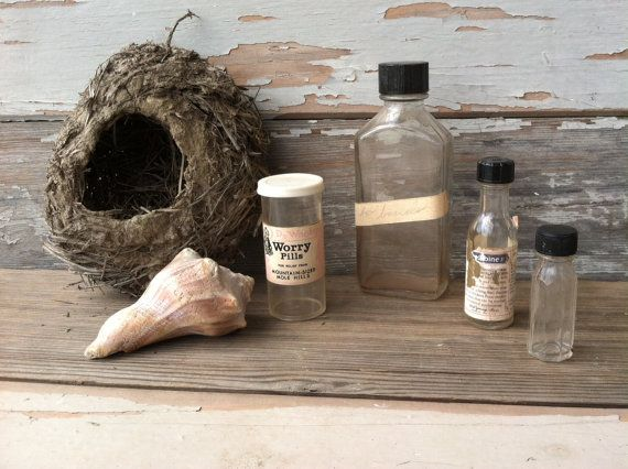 Antique Apothecary Bottle Collection Vintage Old Bottles Home Decor