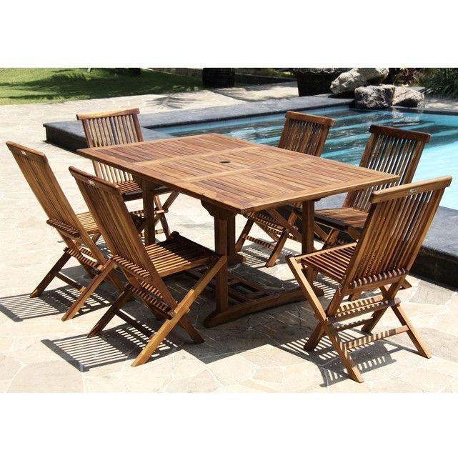 Salon de jardin en bois de teck huilé 6/8 pers Table rect larg ...