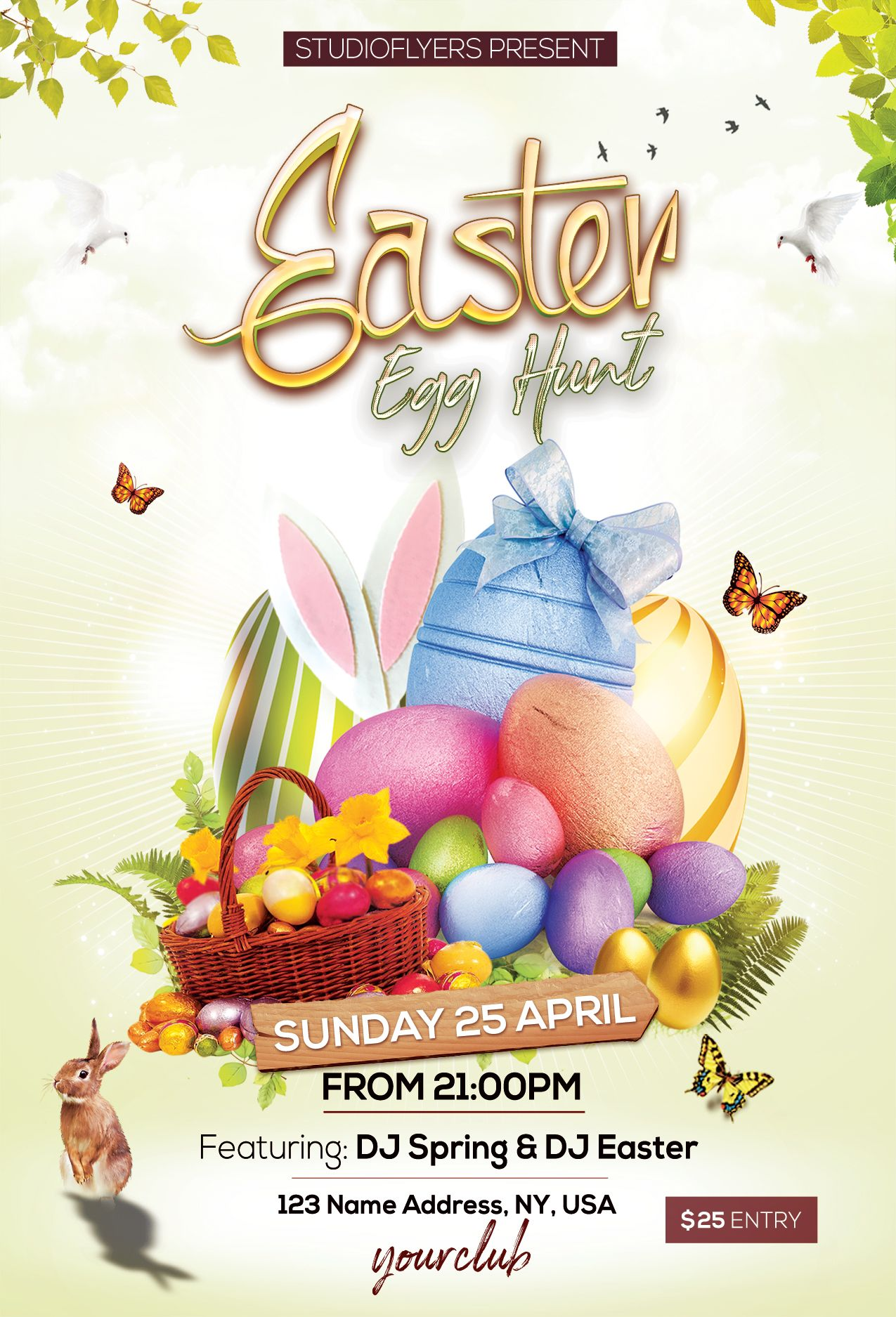 Easter Egg Hunt Free Psd Flyer Template In 2020 With Images