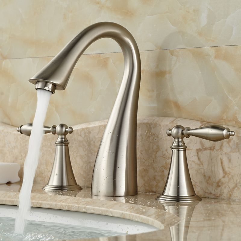 Best Quality Widespread Dual Handle Basin Faucet Brushed Nickel Bathroom Mixer Taps Affiliate