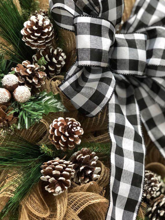 Farmhouse Wreath Buffalo Plaid Black and White Check