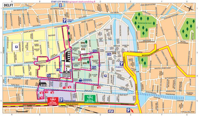 City walk in Delft - Freebee Map | Cruise & travel / Boot ...