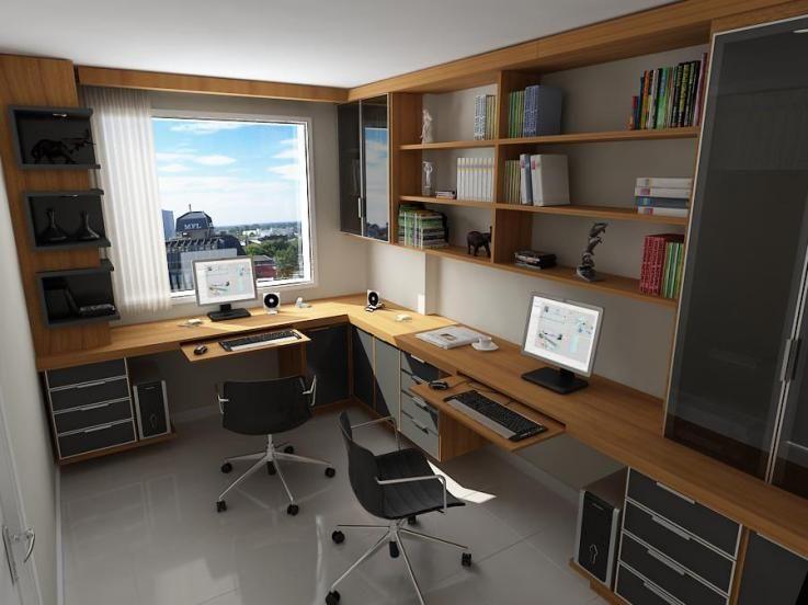 ESCRITORIO Quarto multiuso Decoraç u00e3o escritório, Escritório em casa e Projetos de escritório # Decoração De Escritório Residencial