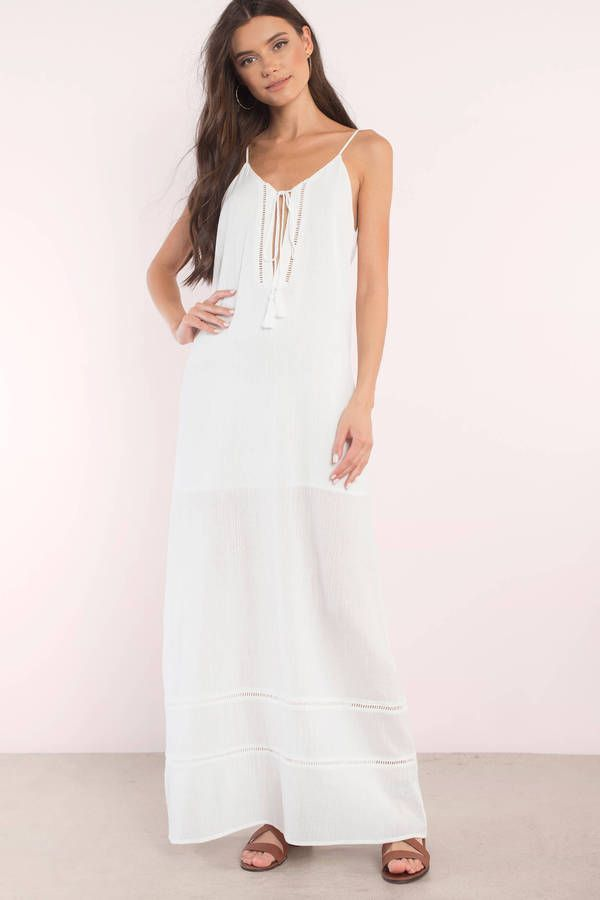 "7d453a214b Collection Of Summer Styles Search ""Breezy Days Ivory Lace Trim Maxi Dress""  on Tobi.com! ladder trim cami long floor length dress white qauze  lightweight ..."