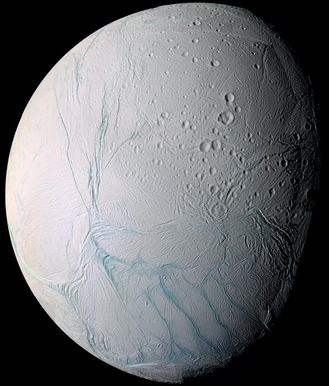 Enceladus, a moon of Saturn, as seen from the Cassini ...