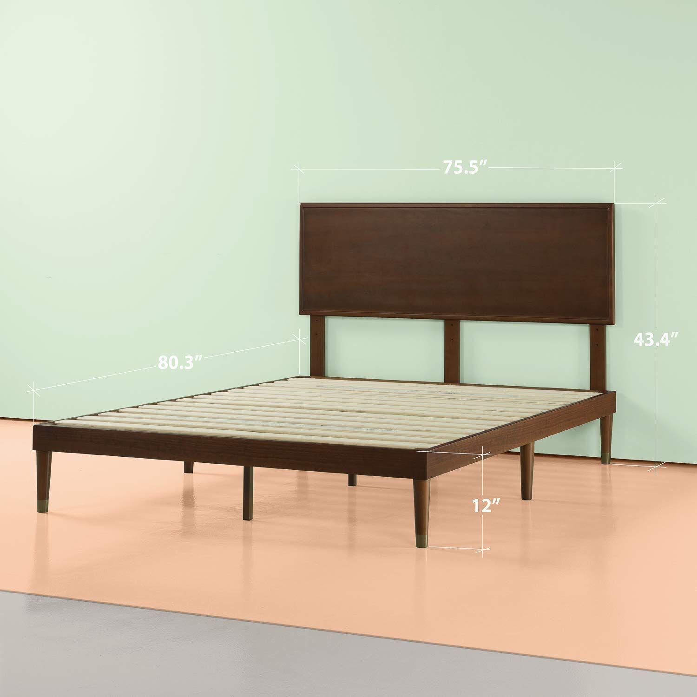 Amazon Com Zinus Deluxe Mid Century Wood Platform Bed With
