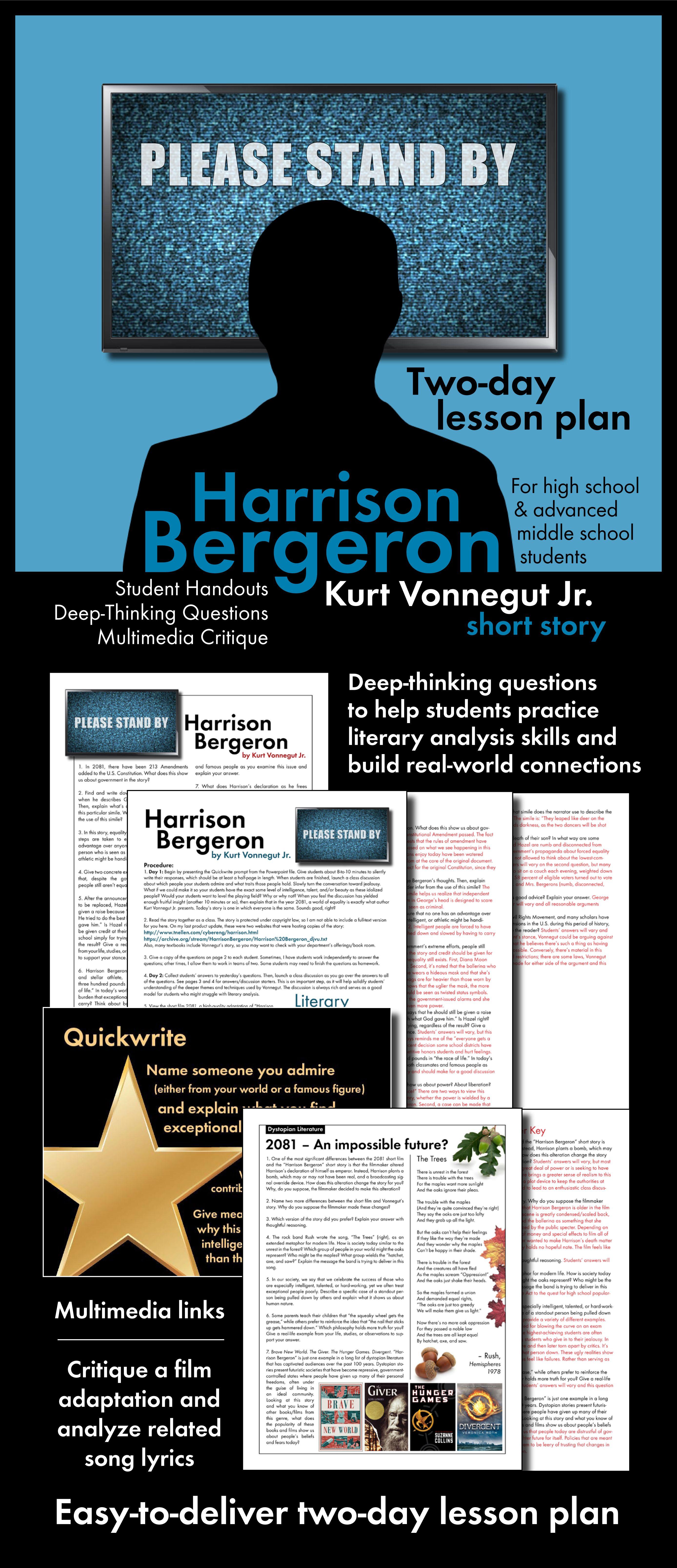 Kurt Vonnegut Jr S Harrison Bergeron Provides A Frightening Glimpse Of Life In 2081 Use Teaching High School English Teaching High School Harrison Bergeron