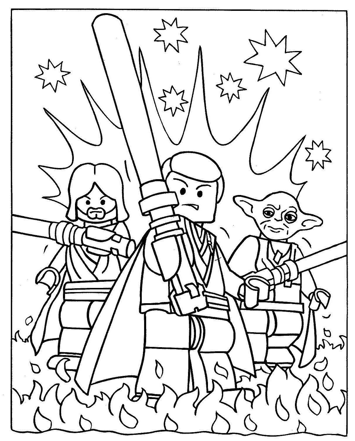 Obi Wan And Luke Skywalker With Yoda Coloring Pages Star Wars