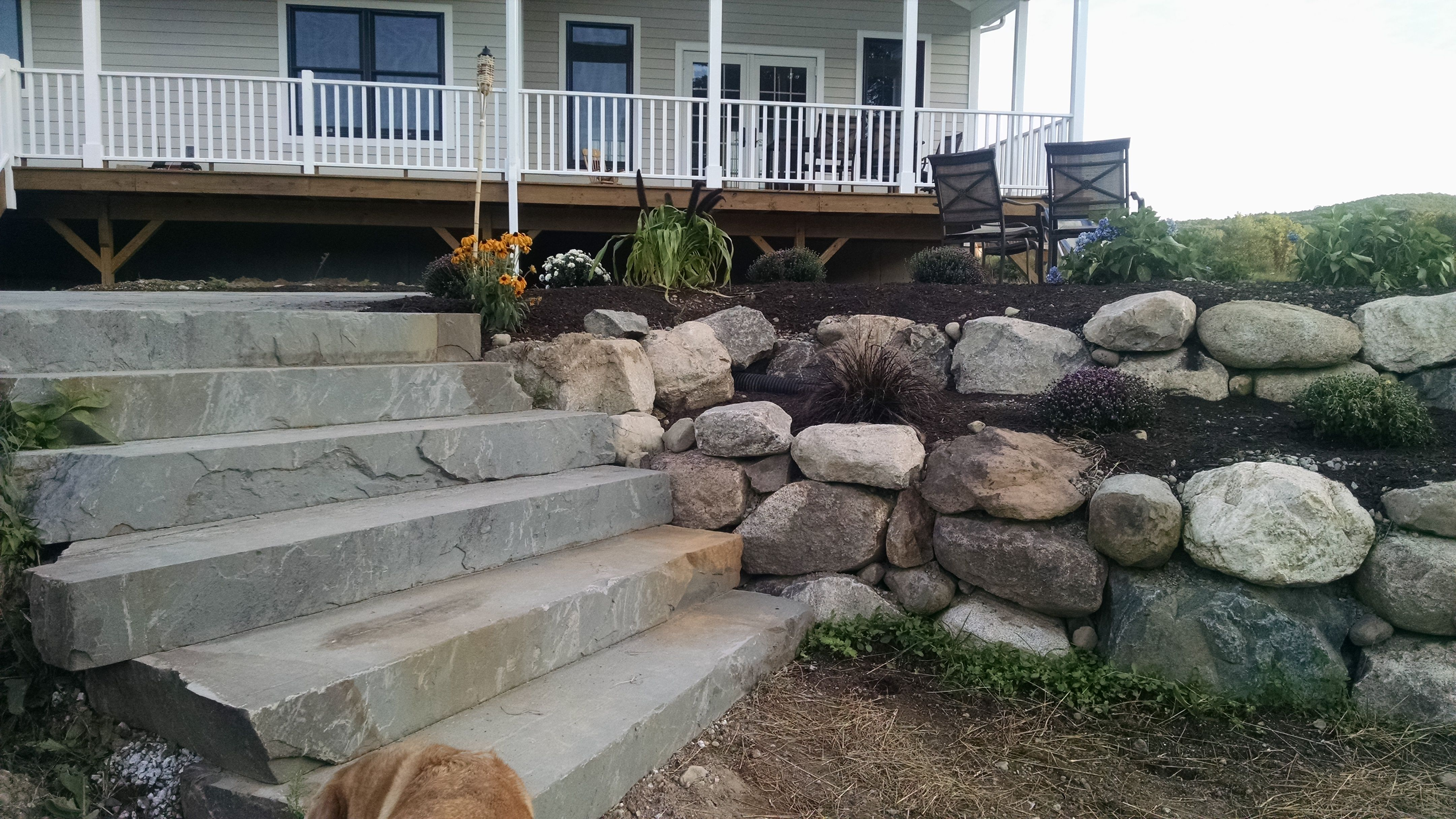 Beautiful Natural Rock Wall with Natural Blue Stone Steps ... on Rock And Stone Outdoor Living id=58210
