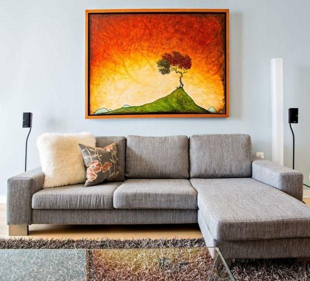 farben für wohnzimmer hellblaue wand orange gemälde | diseño, Wohnzimmer