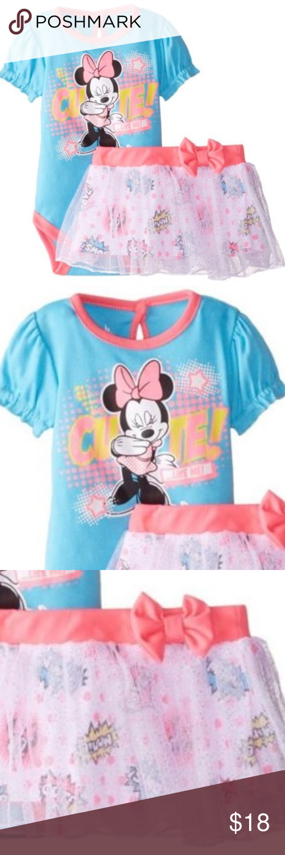 9c33e77f1 Disney Minnie Baby Girl Bodysuit Skirt Set Outfit NWT in 2019