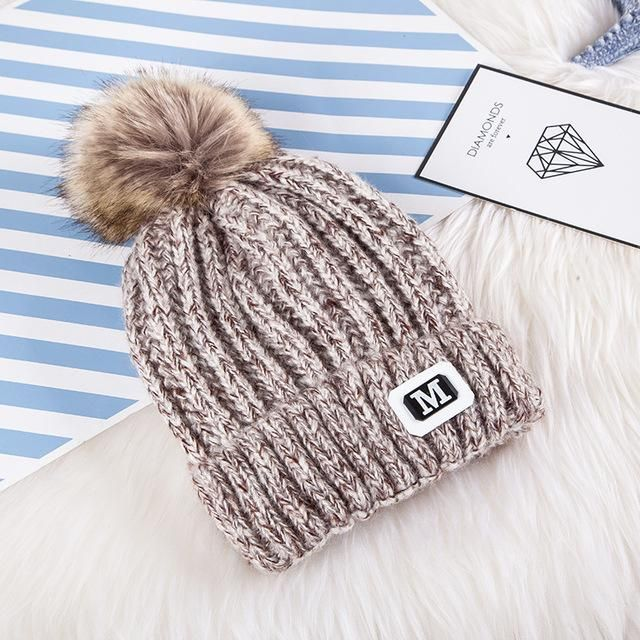 80f93e02405 High Quality Ball Top Thick Winter Cap Knitting Hat Pure Color Wool Thermal  Hat Warm Autumn Ski Beanies Couple Hat For Men Women