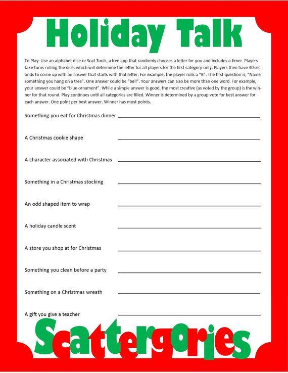 Christmas Scattergories- Printable Game - Christmas Family Game