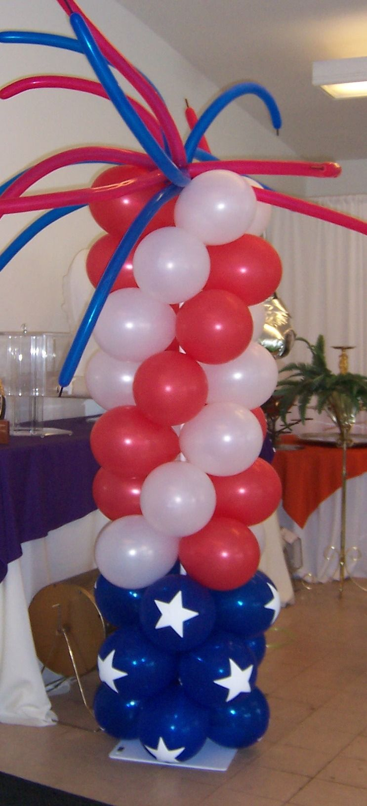 Red White Blue floats Patriotic Column