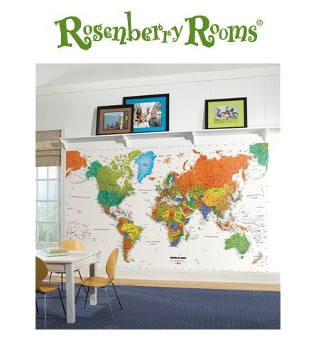 World map chair rail xl wall mural playrooms walls and wall murals awesome world map mural perfect for playroom or classroom walls gumiabroncs Images