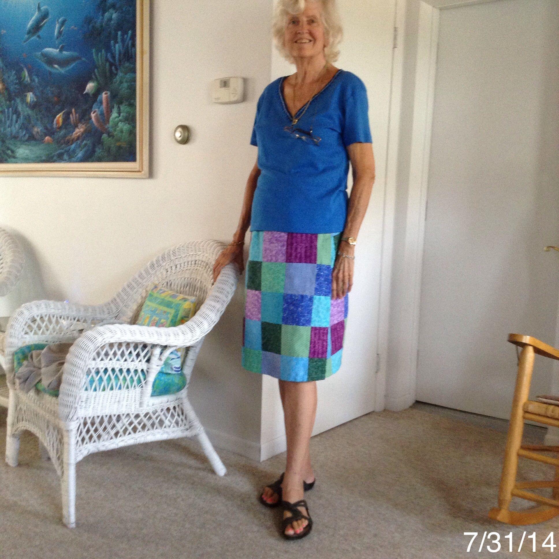 Handmade patchwork wrap skirt, tee top with beaded neck trim.