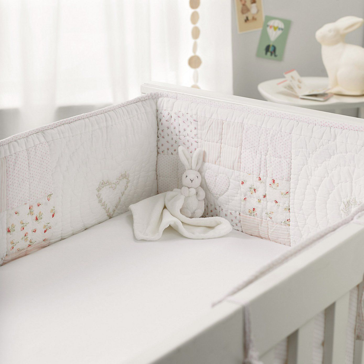 Beautiful bedding intage floral cot bumper the white company new