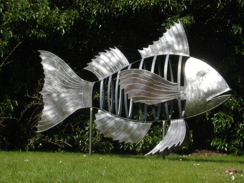 Awesome fish sculpture sadly i don 39 t think it will fit for Fish garden statue
