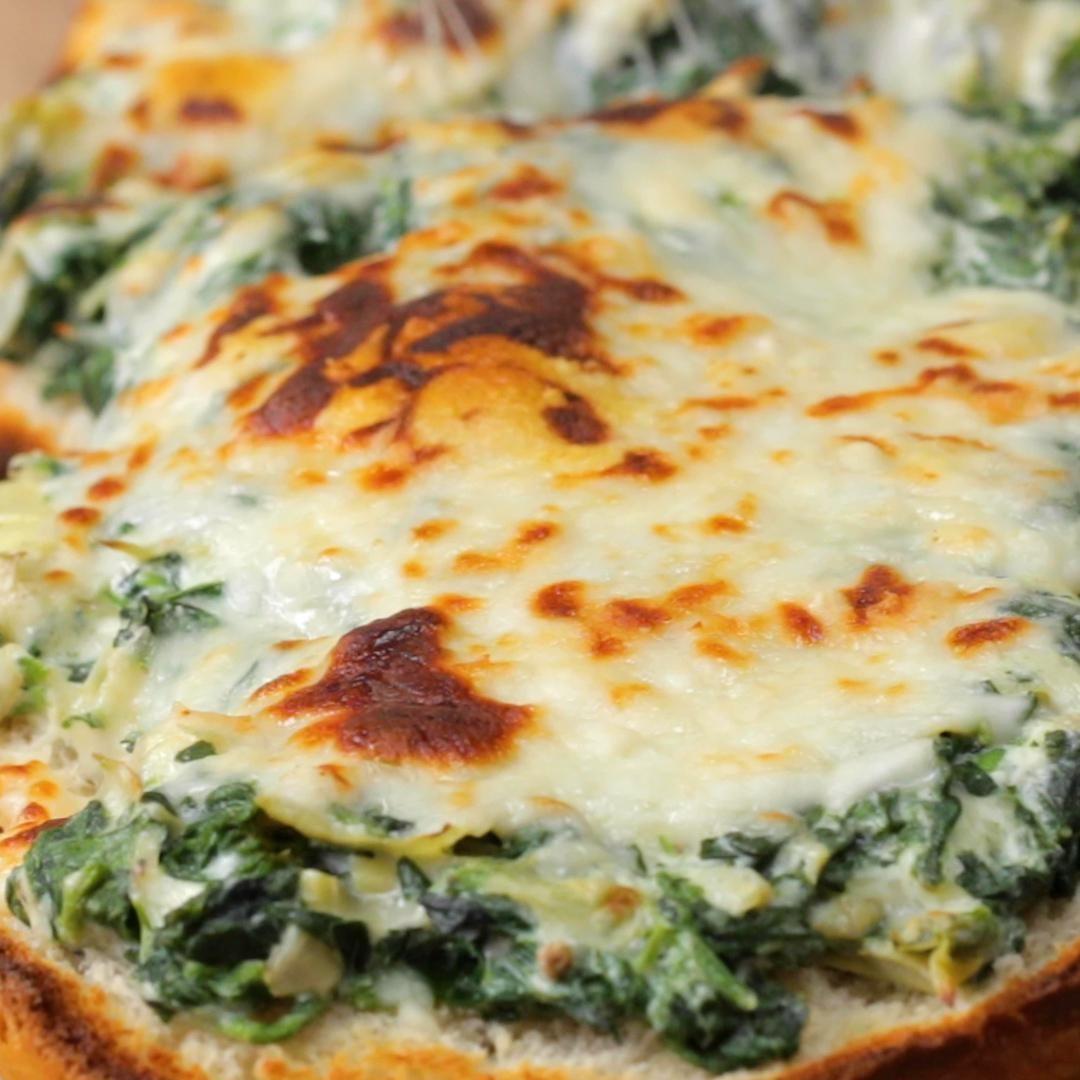 Photo of Spinach And Artichoke Garlic Bread Recipe by Tasty
