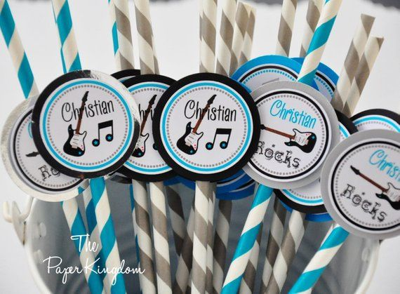 Rock Star Party Straws in Turquoise, Black and Silver, Personalized Drinking Straws - Set of 12 #rockstarparty