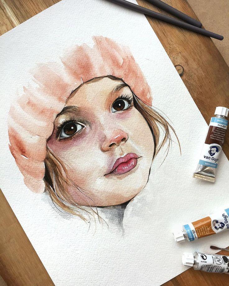 Portrait Malen Aquarellzeichnung Portrats Malen Aquarell Gesicht