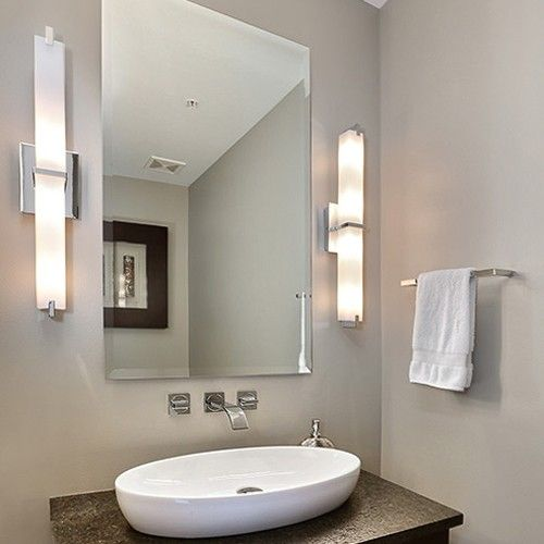 Rectilinear Shaped Light Bar With Multi Layered White Glass Or White Acrylic Diffuser Bathroom Vanity Designs