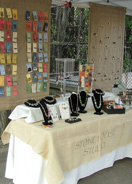 Some good ideas. Liked hanging burlap curtains for display fence panels tree limb display attention to Outdoor Craft Fair Booth Ideas Youu0027ve Never ... & Stonehouse Studio at the Artisan Fair | Burlap Twine and Tents