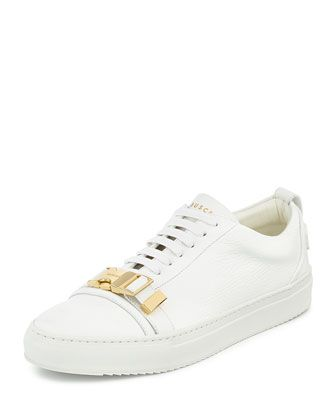 the best attitude 872f8 07ae4 50mm Low-Top Leather Sneaker with Strap, White by Buscemi at Bergdorf  Goodman.