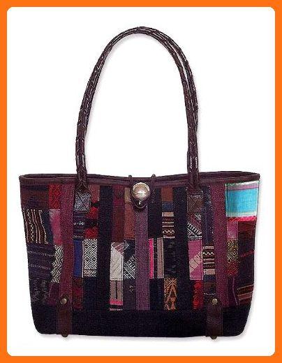 Novica Cotton and leather shoulder bag, Naga Weave