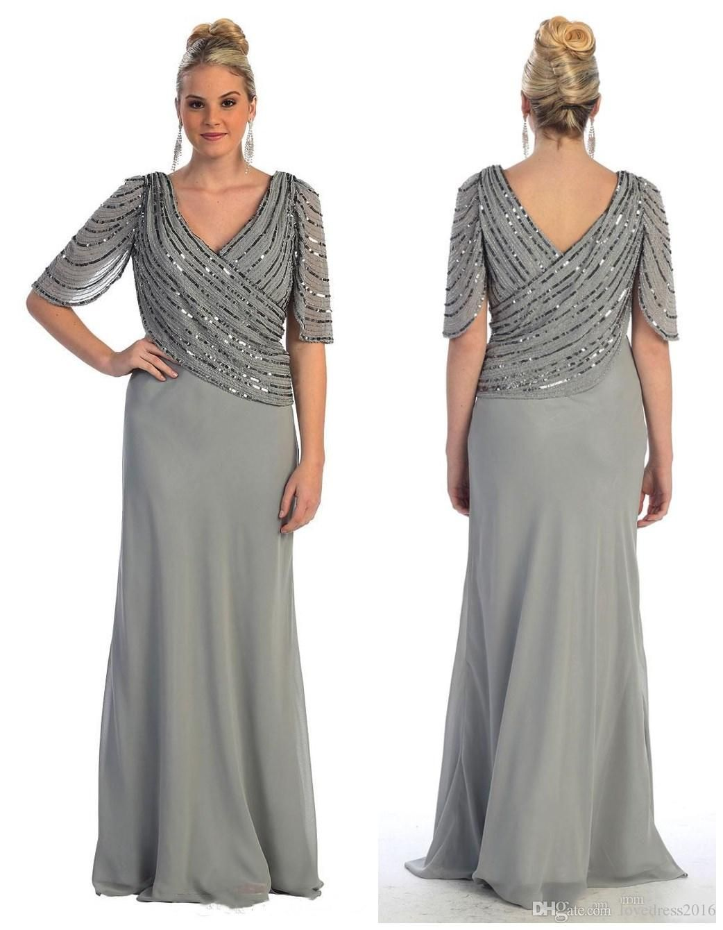 2018 Plus Size Mother Of The Bride Dresses V Neck Sequins Half Sleeves Evening P Plus Size Wedding Gowns Wedding Guest Dresses Long Mother Of The Bride Dresses