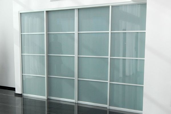14 17 4 Door Set In Regular Track For Space 108 X 80 Aventura Profile Aluminum Hardware White Lami Gl Sliding Closet Doors Room Divider Room Divider Doors