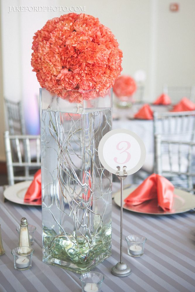 This Would Also Look Good In The Room Gray Tablecloth Coral Centerpiece Wedding ThemesWedding