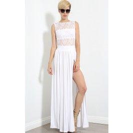 Lace Top Double Slit Maxi Dress