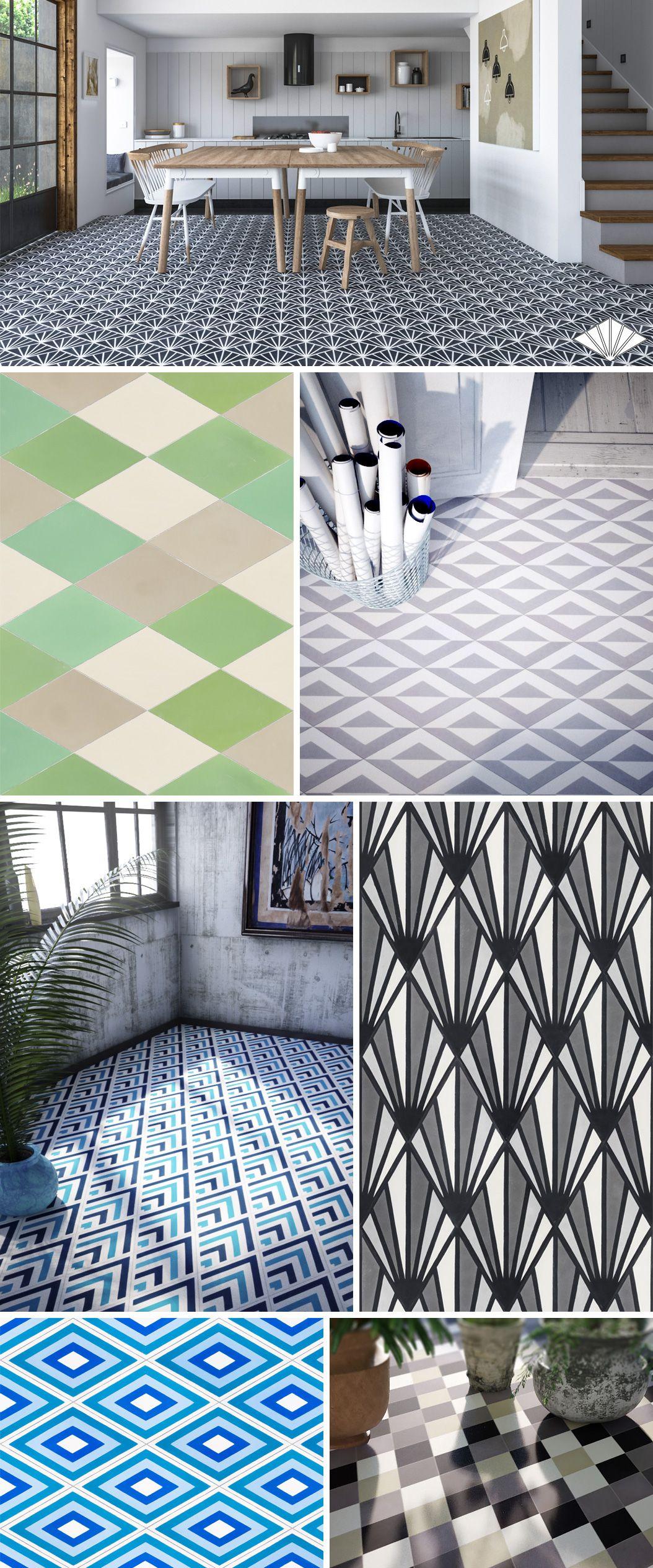 Diamond Shaped Encaustic Cement Tiles Patterns And Plain Tiles