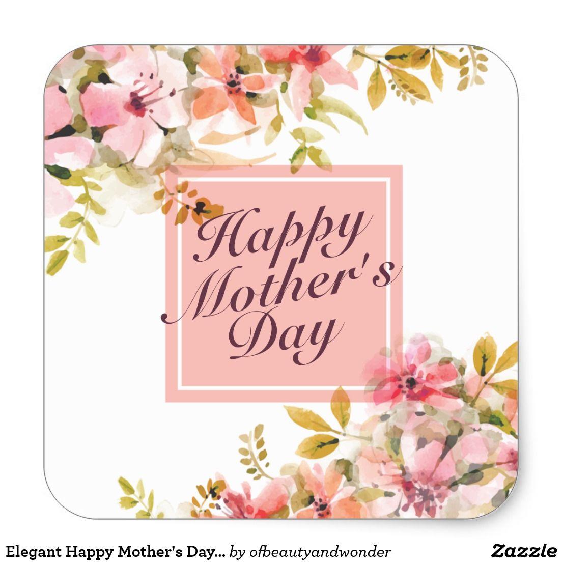 Elegant happy mothers day floral frame sticker zazzle com