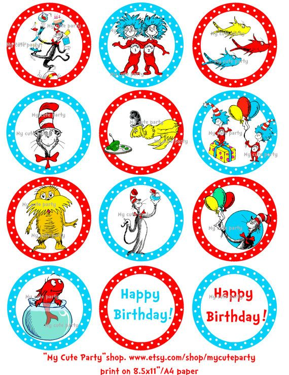 Thing 1 Thing 2,dr seuss, dr seuss cupcake toppers,Thing 1 ...
