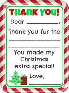 Fill In The Blank Christmas Thank You Cards Free Printable Printable Christmas Cards Thank You Cards From Kids Christmas Thank You