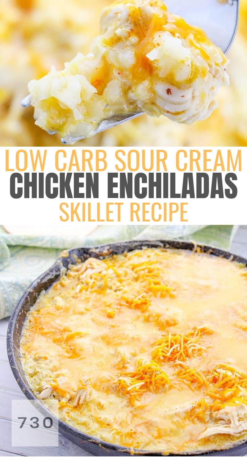 Low Carb Sour Cream Chicken Enchiladas Skiller Recipe Sour Cream Chicken Chicken Enchilada Skillet Recipes