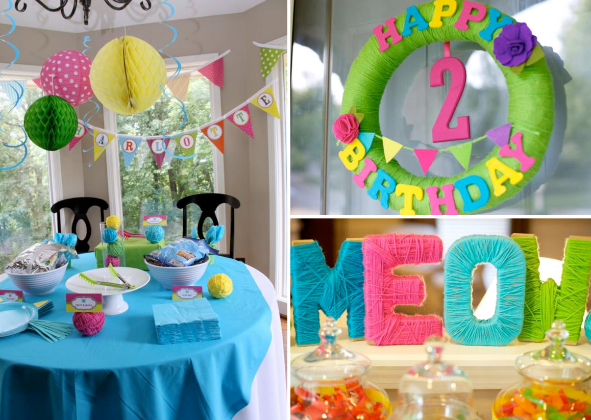cat kitty themed 2nd birthday party karas party ideas the place for all things party - Birthday Party Decoration Ideas
