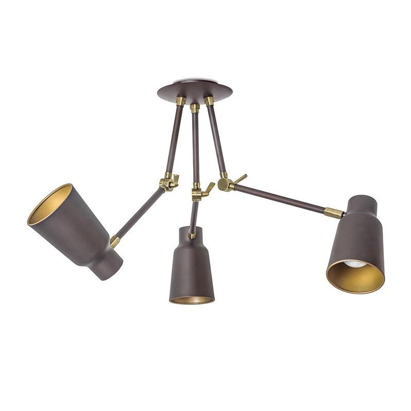 Dark Brown And Gold 3 Arm Adjustable Ceiling Fitting Ceiling