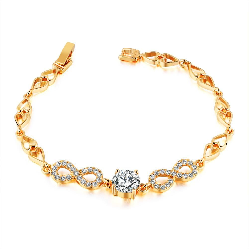 Infinity gold bracelets with cubic zirconia gold silver rosegold